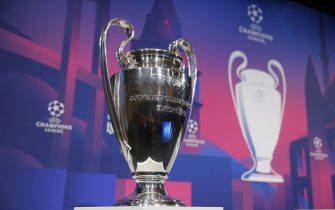 epa09083584 A handout photo made available by the UEFA shows a detailed view of the UEFA Champions League trophy during the UEFA Champions League 2020/21 Quarter-finals and Semi-finals draw at the UEFA headquarters, The House of European Football on March 19, 2021 in Nyon, Switzerland.  EPA/Valentin Flauraud / UEFA HANDOUT  HANDOUT EDITORIAL USE ONLY/NO SALES
