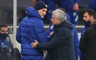 Chelsea manager Thomas Tuchel (left) and Tottenham Hotspur manager Jose Mourinho meet before the Premier League match at the Tottenham Hotspur Stadium, London. Picture date: Thursday February 4, 2021.