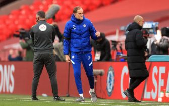 Chelsea manager Thomas Tuchel celebrates victory after the final whistle during the FA Cup semi final match at Wembley Stadium, London. Picture date: Saturday April 17, 2021.
