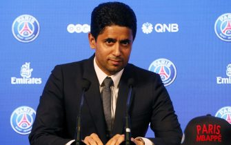 epa07596195 (FILE) - PSG president Nasser Al-Khelaifi attends a press conference during the presentation of new Paris Saint Germain player Kylian Mbappe (unseen) in Paris, France, 06 September 2017 (reissued 24 May 2019). Nasser Al-Khelaifi is under investigation in France for alleged bribery in Doha's bid to host the IAAF Athletics World Championship it was confirmed 23 May 2019.  EPA/ETIENNE LAURENT *** Local Caption *** 53750817