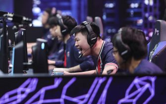 SHANGHAI, CHINA - SEPTEMBER 27: Jen-Tso Hsiao aka Kongyue of PSG Talon reacts during the game between Unicorns of Love and PSG Talon on Day 3 of the League of Legends 2020 Worlds Play-ins at SMT studio on September 27, 2020 in Shanghai, China. (Photo by David Lee/Riot Games/Riot Games Inc. via Getty Images)