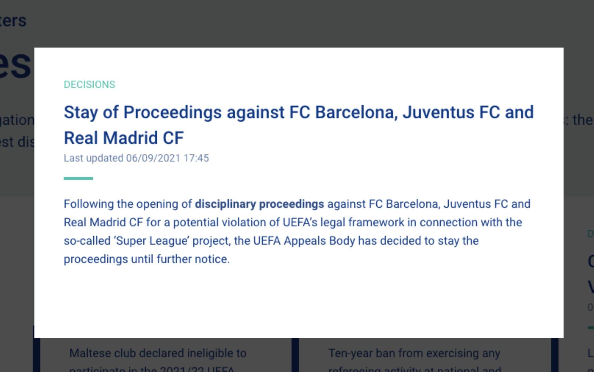 Il comunicato dell'Uefa