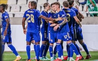 Luka Menalo celebrates goal on Second match of the 2nd round of the UEFA Champions League, Omonoia - GNK Dinamo on stadium GPS, Strovolos, Nicosia, Cyprus on 27. July , 2021 Photo: Jurica Galoic/PIXSELL