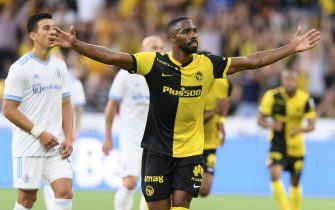 epa09374796 Young Boys' Ulisses Garcia celebrates after scoring the 2-0 lead during the UEFA Champions League second qualifying round, second leg soccer match between Young Boys Bern and Slovan Bratislava at the Wankdorf stadium in Bern, Switzerland, 28 July 2021.  EPA/ANTHONY ANEX