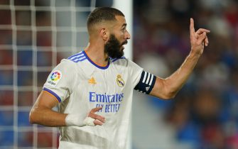 Karim Benzema of Real Madrid during the La Liga match between Levante UD v Real Madrid played at Ciutat Valencia Stadium on August 21, 2021 in Barcelona, Spain. (Photo by Sergio Ruiz / PRESSINPHOTO)