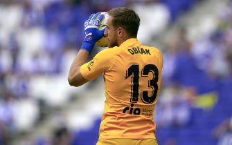 Jan Oblak of Atletico de Madrid during the La Liga match between RCD Espanyol and Atletico de Madrid played at RCDE Stadium on September 12, 2021 in Barcelona, Spain. (Photo by PRESSINPHOTO)