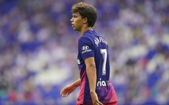 Joao Felix of Atletico de Madrid during the La Liga match between RCD Espanyol and Atletico de Madrid played at RCDE Stadium on September 12, 2021 in Barcelona, Spain. (Photo by PRESSINPHOTO)