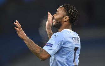 epa08873556 Raheem Sterling of Manchester City celebrates scoring his team's third goal during the UEFA Champions League group C soccer match between Manchester City and Olympique Marseille in Manchester, Britain, 09 December 2020.  EPA/Peter Powell / POOL
