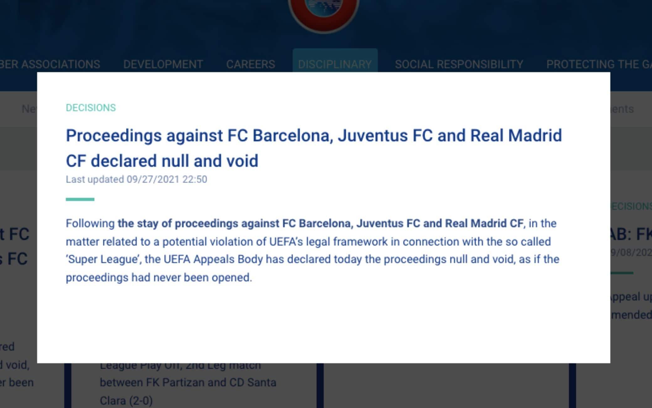 Il comunicato ufficiale della Corte d'Appello Uefa