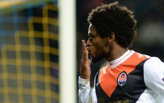 Shakhtar Donetsk's Luiz Adriano reacts after scoring his team's seventh goal during the UEFA Champions League group H football match between BATE Borisov and Shakhtar Donetsk at the Borisov Arena in Borisov on October 21, 2014. Shakhtar Donetsk won 7-0. AFP PHOTO / MAXIM MALINOVSKY        (Photo credit should read MAXIM MALINOVSKY/AFP/Getty Images)