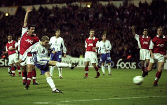 21 Oct 1998:  Remi Garde of Arsenal appeals for offside as Sergi Rebrov of Dynamo Kiev fires home a late equaliser during the UEFA Champions League match at Wembley in London. The game ended 1-1. \ Mandatory Credit: Clive Brunskill /Allsport
