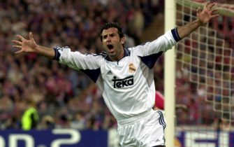 MUN13 - 20010509 - MUNICH, GERMANY : Portuguese international Luis Figo of Real Madrid celebrates after scoring the 1-1 equalizer against Bayern Munich in the UEFA Champions League, semi final second leg match at olympic stadium in Munich on Wednesday, 09 May 2001.  EPA PHOTO DPA/FRANK LEONHARDT