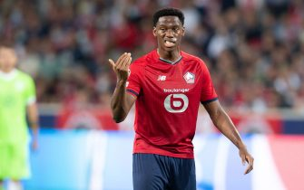 LILLE, FRANCE - SEPTEMBER 14: (BILD OUT) Jonathan David of Lille OSC gestures during the UEFA Champions League group G match between Lille OSC and VfL Wolfsburg at Stade Pierre-Mauroy on September 14, 2021 in Lille, France. (Photo by Mario Hommes/DeFodi Images via Getty Images)