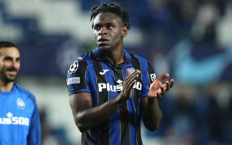 Atalanta's Duvan Zapata celebrates at the end of the UEFA Champions League group F soccer match between Atalanta B.C. and BSC Young Boys at the Gewiss Stadium in Bergamo, Italy, 29 September 2021ANSA/PAOLO MAGNI