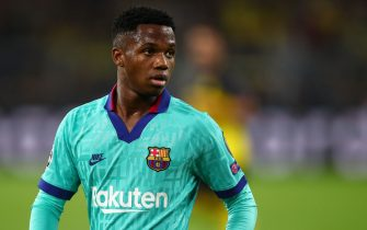 DORTMUND, GERMANY - SEPTEMBER 17: Ansu Fati of FC Barcelona during the UEFA Champions League group F match between Borussia Dortmund and FC Barcelona at Signal Iduna Park on September 17, 2019 in Dortmund, Germany. (Photo by Robbie Jay Barratt - AMA/Getty Images)