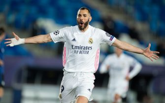 (210317) -- MADRI, March 17, 2021 (Xinhua) -- Real Madrid's Karim Benzema celebrates scoring during a UEFA Champions League round of 16 second leg football match between Real Madrid and Atlanta in Madrid, Spain, Mar. 16, 2021. (Xinhua/Meng Dingbo) - Meng Dingbo -//CHINENOUVELLE_1.0673/2103170849/Credit:CHINE NOUVELLE/SIPA/2103170852