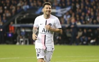 Lionel Messi of PSG celebrates the goal of Ander Herrera of PSG during the UEFA Champions League, Group Stage, Group 1 football match between Club Brugge KV and Paris Saint-Germain (PSG)on September 15, 2021 at Jan Breydel Stadion in Bruges, Belgium - Photo: Jean Catuffe/DPPI/LiveMedia