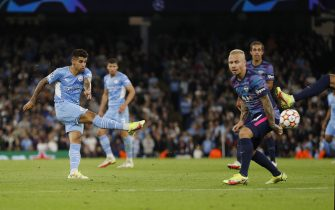 Manchester, England, 15th September 2021.  Joao Cancelo of Manchester City scores the fifth goal during the UEFA Champions League match at the Etihad Stadium, Manchester. Picture credit should read: Darren Staples / Sportimage via PA Images via PA Images