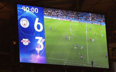 MANCHESTER, ENGLAND - SEPTEMBER 15: A general view inside the stadium as the LED screen displays the score line during the UEFA Champions League group A match between Manchester City and RB Leipzig at Etihad Stadium on September 15, 2021 in Manchester, England. (Photo by Richard Heathcote/Getty Images)