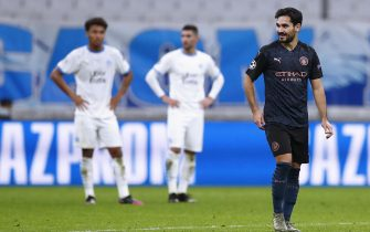 epa08779234 Manchester City's Ilkay Gundogan reacts after scoring the 2-0 lead during the UEFA Champions League Group C soccer match between Marseille and Manchester City at the Orange Velodrome stadium, in Marseille, France 27 October 2020.  EPA/Guillaume Horcajuelo / POOL
