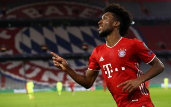 epa08763648 Kingsley Coman of FC Bayern Munich reacts during the UEFA Champions League Group A stage match between FC Bayern Munich and Atletico Madrid at Allianz Arena in Munich, Germany, 21 October 2020.  EPA/Alexander Hassenstein / POOL