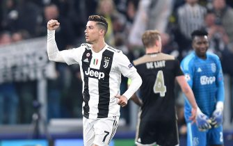 Juventuss Cristiano Ronaldo jubilates after scoring the goal (1-0) during the return match of the Uefa Champios League quarter-finals Juventus FC vs AFC Ajax at the Allianz Stadium in Turin, Italy, 16 April 2019 ANSA/ALESSANDRO DI MARCO