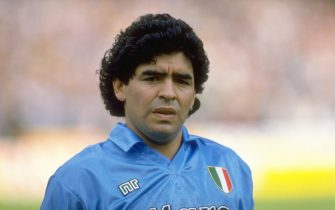 21 Oct 1990:  Portrait of Diego Maradona of Napoli SSC before an Italian League match against AC Milan at the San Paolo Stadium in Naples, Italy. The match ended in a 1-1 draw. \ Mandatory Credit: Simon  Bruty/Allsport
