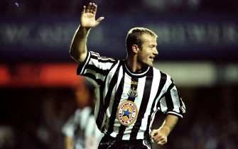 17 Sep 1998:  Alan Shearer of Newcastle celebrates a goal during the European Cup Winners Cup against Partizan Belgrade played at St James'' Park in Newcastle, England. Newcastle won the game 2-1. \ Mandatory Credit: Clive Brunskill /Allsport