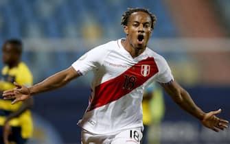 (210624) -- GOIANIA, June 24, 2021 (Xinhua) -- Peru's Andre Carrillo celebrates during the 2021 Copa America group B football match between Ecuador and Peru in Goiania, Brazil, on June 23, 2021. (Xinhua/Lucio Tavora) - LUCIO TAVORA -//CHINENOUVELLE_10030064/2106241032/Credit:CHINE NOUVELLE/SIPA/2106241038