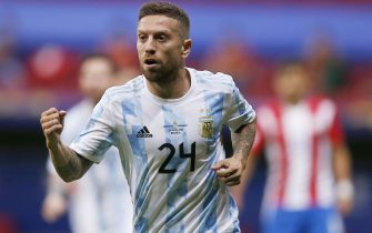 (210622) -- BRASILIA, June 22, 2021 (Xinhua) -- Argentina's Alejandro Gomez celebrates his goal during the 2021 Copa America group A football match between Argentina and Paraguay in Brasilia, Brazil, on June 21, 2021. (Xinhua/Lucio Tavora) - Lucio Tavora -//CHINENOUVELLE_XxjpbeE007039_20210622_PEPFN0A001/2106220848/Credit:CHINE NOUVELLE/SIPA/2106220854