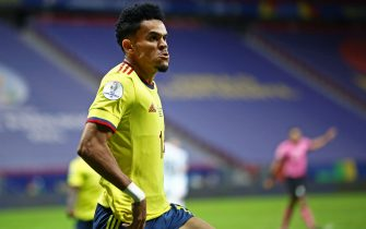 Luis Díaz da Colômbia, comemora o seu gol durante a partida entre Argentina e Colômbia, pela semifinal da Copa América 2021, nesta terça-feira 06. / PRESSINPHOTO