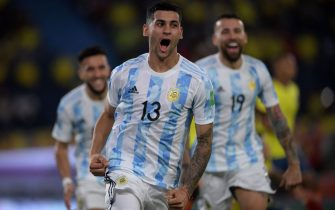 Argentina's Cristian Romero celebrates after scoring against Colombia during their South American qualification football match for the FIFA World Cup Qatar 2022 at the Roberto Melendez Metropolitan Stadium in Barranquilla, Colombia, on June 8, 2021. (Photo by Raul ARBOLEDA / AFP) (Photo by RAUL ARBOLEDA/AFP via Getty Images)