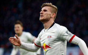 Leipzig's German forward Timo Werner celebrates after scoring during the German first division Bundesliga football match RB Leipzig v Hoffenheim in Leipzig on December 7, 2019. (Photo by Odd ANDERSEN / AFP) / DFL REGULATIONS PROHIBIT ANY USE OF PHOTOGRAPHS AS IMAGE SEQUENCES AND/OR QUASI-VIDEO (Photo by ODD ANDERSEN/AFP via Getty Images)