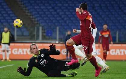 Roma-Spezia 2-2 LIVE: espulsi Mancini e Pau Lopez