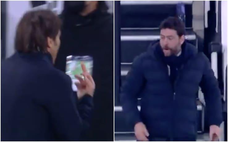 A sinistra il gesto di Conte a fine primo tempo, a destra la furia di Agnelli a fine partita