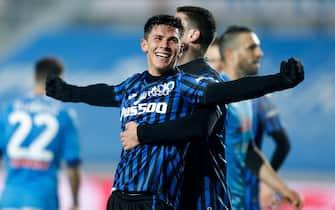 Matteo Pessina (Atalanta) celebrates after scoring a goal during Atalanta BC vs SSC Napoli, Italian football Coppa Italia match in Bergamo, Italy, February 10 2021