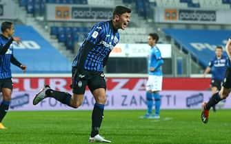 Atalanta's Matteo Pessina celebrates after goal 2-0 during the Coppa Italia Semi-final second leg match between Atalanta BC vs Napoli at Gewiss Stadium in Bergamo, Italy, 10 February 2021.ANSA/PAOLO MAGNI
