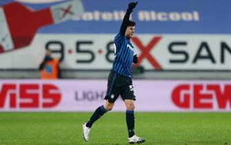Matteo Pessina (Atalanta) celebrates after scoring the second goal for his team during Atalanta BC vs SSC Napoli, Italian football Coppa Italia match in Bergamo, Italy, February 10 2021