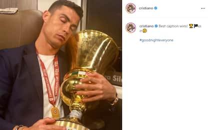 """CR7 dorme con la Coppa Italia: """"Che felicità"""""""