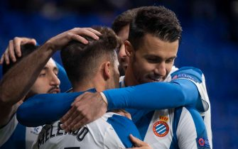 BARCELONA, SPAIN - NOVEMBER 07: Player's of Espanyol celebrate after scoring his team's first goal during the UEFA Europa League group H match between Espanyol Barcelona and PFC Ludogorets Razgrad at Power8 Stadium on November 7, 2019 in Barcelona, Spain. (Photo by TF-Images/Getty Images)