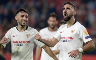 Sevilla's Israeli forward Moanes Dabour celebrates after scoring a goal during the UEFA Europa League Group A football match between Sevilla FC and Qarabag FK at the Ramon Sanchez Pizjuan stadium in Seville on November 28, 2019. (Photo by CRISTINA QUICLER / AFP) (Photo by CRISTINA QUICLER/AFP via Getty Images)