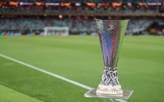 BAKU, AZERBAIJAN - MAY 29: The Europa League trophy during the UEFA Europa League Final between Chelsea and Arsenal at Baku Olimpiya Stadionu on May 29, 2019 in Baku, Azerbaijan. (Photo by James Williamson - AMA/Getty Images)