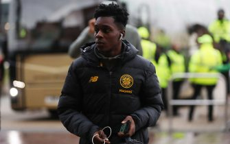 GLASGOW, SCOTLAND - NOVEMBER 23: Jeremie Frimpong of Celtic arrives prior to the Ladbrokes Premiership match between Celtic and Livingston at Celtic Park on November 23, 2019 in Glasgow, Scotland. (Photo by Ian MacNicol/Getty Images)