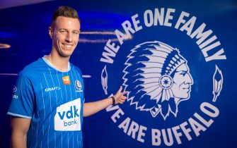 KAA Gent's new player Bruno Godeau poses for the photographer at Jupiler Pro League club KAA Gent, Tuesday 28 January 2020, in Gent. BELGA PHOTO JAMES ARTHUR GEKIERE (Photo by JAMES ARTHUR GEKIERE/BELGA MAG/AFP via Getty Images)