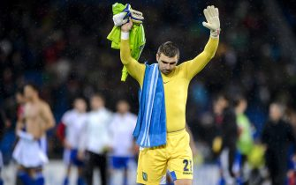 Ludogorets Razgrad's goalkeeper Vladislav Stoyanov reacts after he received four goals at the end of the UEFA Champions League Group B football match between FC Basel and Ludogorets Razgrad on November 4, 2014 at the St. Jakob-Park stadium in Basel. AFP PHOTO / FABRICE COFFRINI        (Photo credit should read FABRICE COFFRINI/AFP via Getty Images)