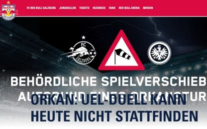 Troppo vento: Salisburgo-Eintracht non si gioca