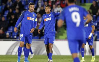 GETAFE, SPAIN - OCTOBER 24: Jorge Molina of FC Getafe and Robert Kenedy of FC Getafe looks dejected during the UEFA Europa League group C match between Getafe CF and FC Basel at Coliseum Alfonso Perez on October 24, 2019 in Getafe, Spain. (Photo by TF-Images/Getty Images)
