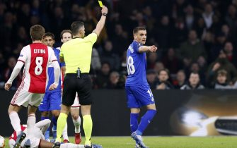 (l-r) Carel Eiting of Ajax, referee Tasos Sidiropoulos, Mauro Arambarri of Getafe CF during the UEFA Europa League round of 32 second leg match between Ajax Amsterdam and Getafe CF at Johan Cruijff Arena on February 27, 2020 in Amsterdam, The Netherlands(Photo by ANP Sport via Getty Images)