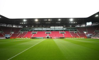 AUGSBURG, GERMANY - JUNE 07: General view inside the stadium prior to the Bundesliga match between FC Augsburg and 1. FC Koeln at WWK-Arena on June 7, 2020 in Augsburg, Germany. (Photo by Michael Dalder/Pool via Getty Images)