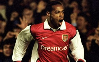 2 Mar 2000:   Thierry Henry of Arsenal celebrates during the UEFA Cup fourth round first leg game played at Highbury in London. The match finished 5-1 to Arsenal. \ Mandatory Credit: Stu Forster /Allsport